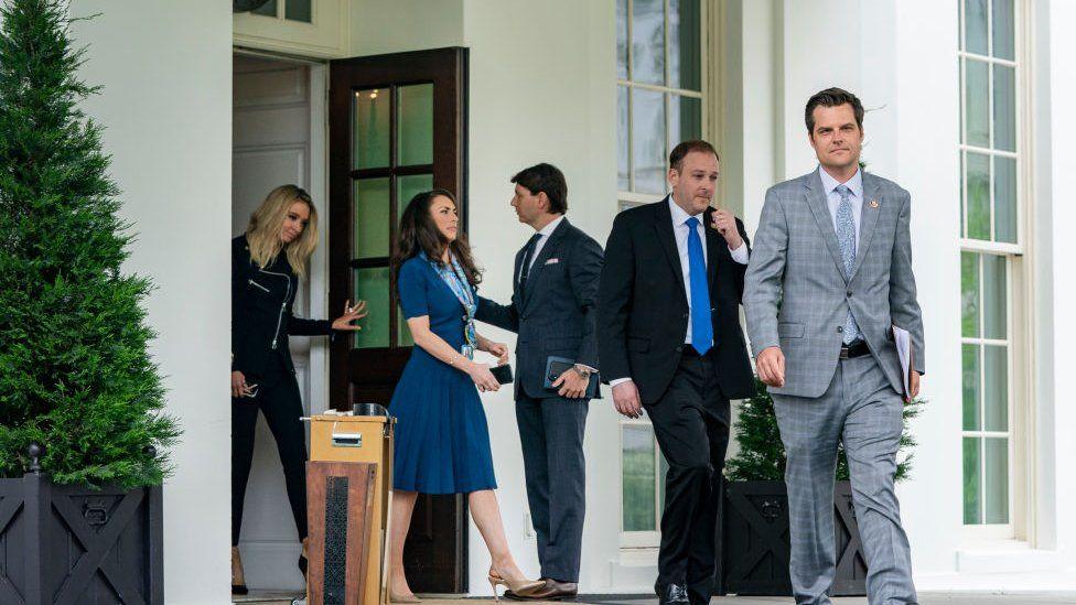 White House Press Secretary Kayleigh McEnany, Director of Strategic Communications Alyssa Farah, Deputy Press Secretary Hogan Gidley, Rep Lee Zeldin and Rep Matt Gaetz exit the West Wing