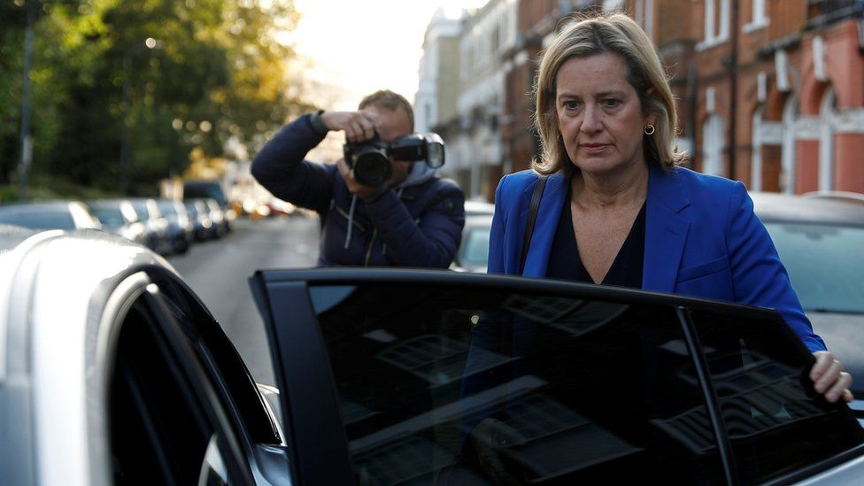 Amber Rudd gets into a car