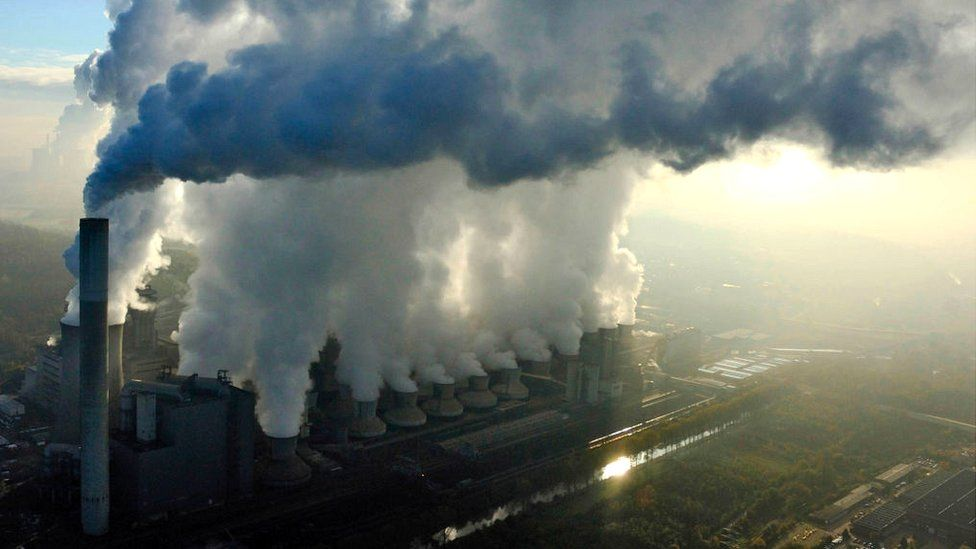 Aerial view of Neurath fired-coal power station showing large amount of fumes and pollution, Cologne, Germany.