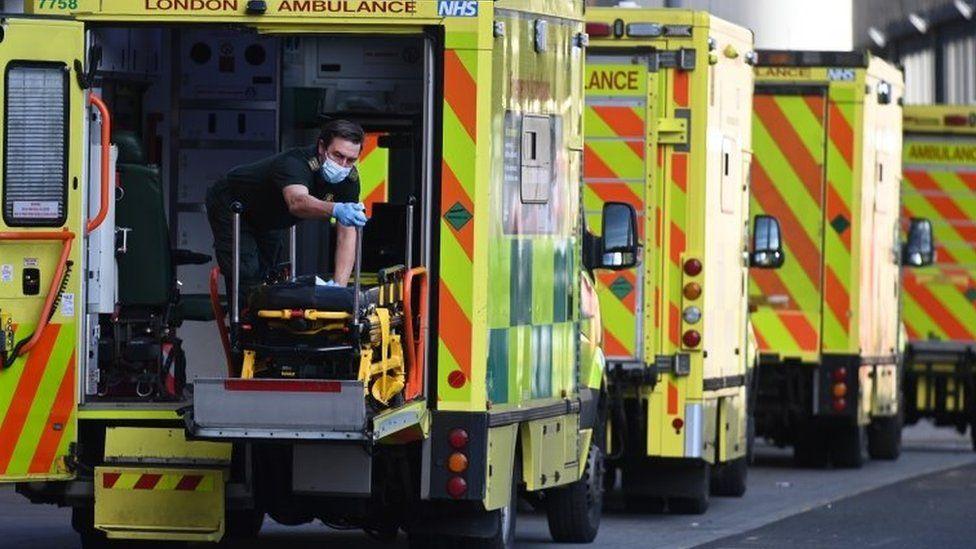 Row of ambulances outside the Royal London Hospital, January 2021
