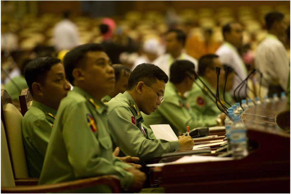 Myanmar's military members of parliament attend the new lower house parliamentary session in Naypyidaw on 1 February 2016