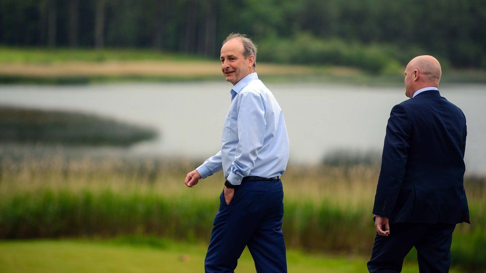 Taoiseach Micheal Martin took an early morning stroll at Lough Erne Resort ahead of the Summit