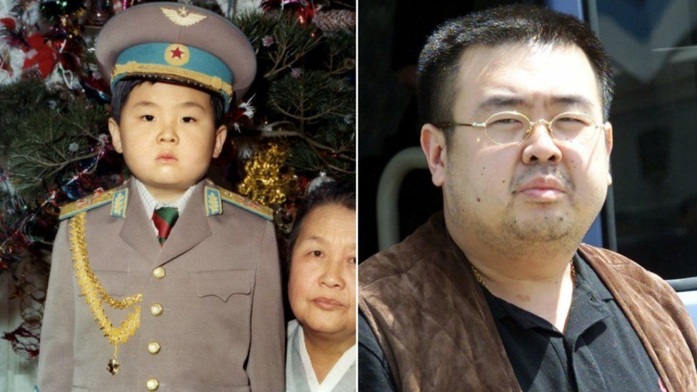 Kim Jong-Nam pictured as a boy in uniform and a photograph showing him before his death