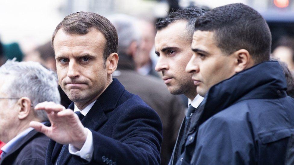 Emmanuel Macron inspects damage from rioting - 2 December