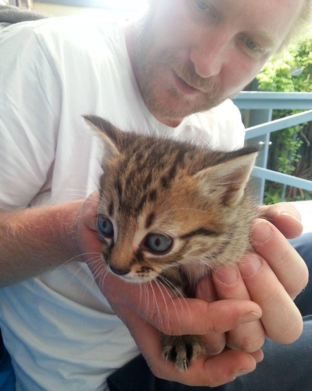 Luke Brett Moore with kitten