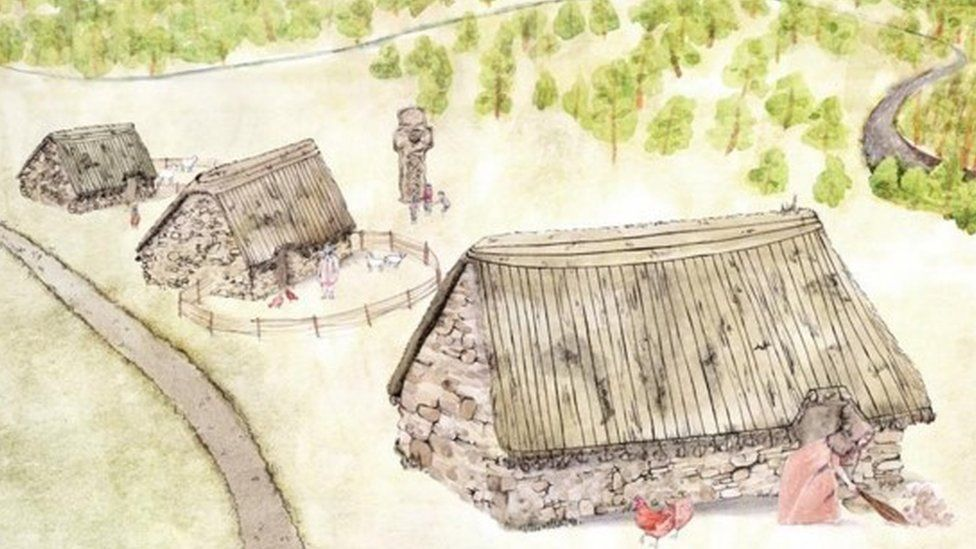 Artists impression of the lost village of Cadzow