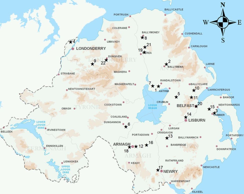 Archaeology sites distribution map