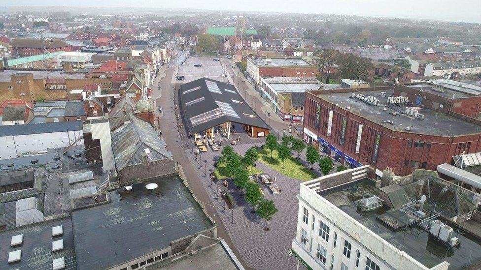 Aerial view of artist's impression of Great Yarmouth market