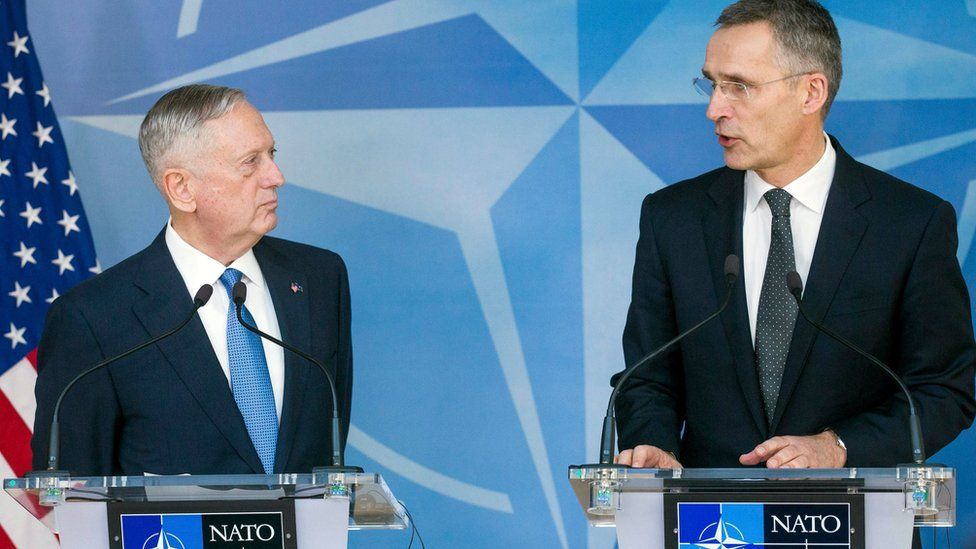 "US Defence Secretary James Mattis and NATO Secretary General Jens Stoltenberg give a press conference during the NATO Defense Ministers Council at the alliance""s headquarters in Brussels"