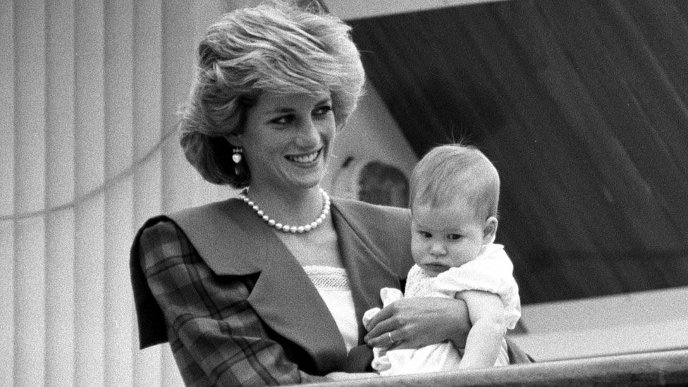Pincess of Wales are reunited with Prince Harry, aboard the Royal Yacht Britannia, 7 May 1985