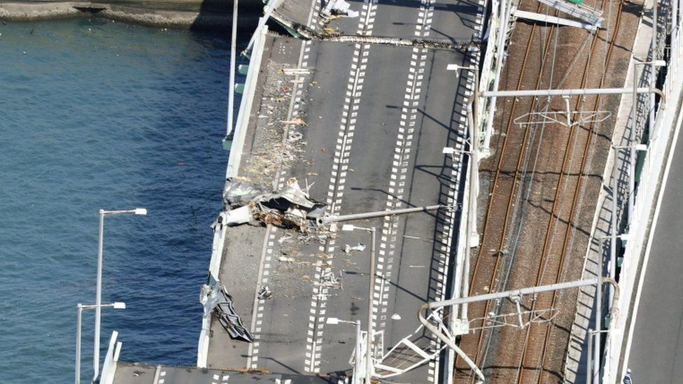 Damaged bridge at Kansai airport