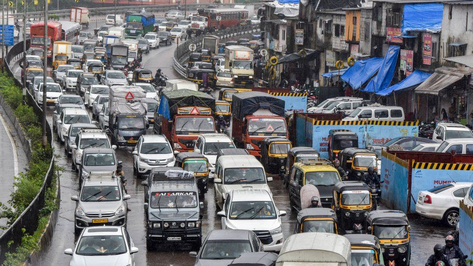 Vehicles on a road in Mumbai