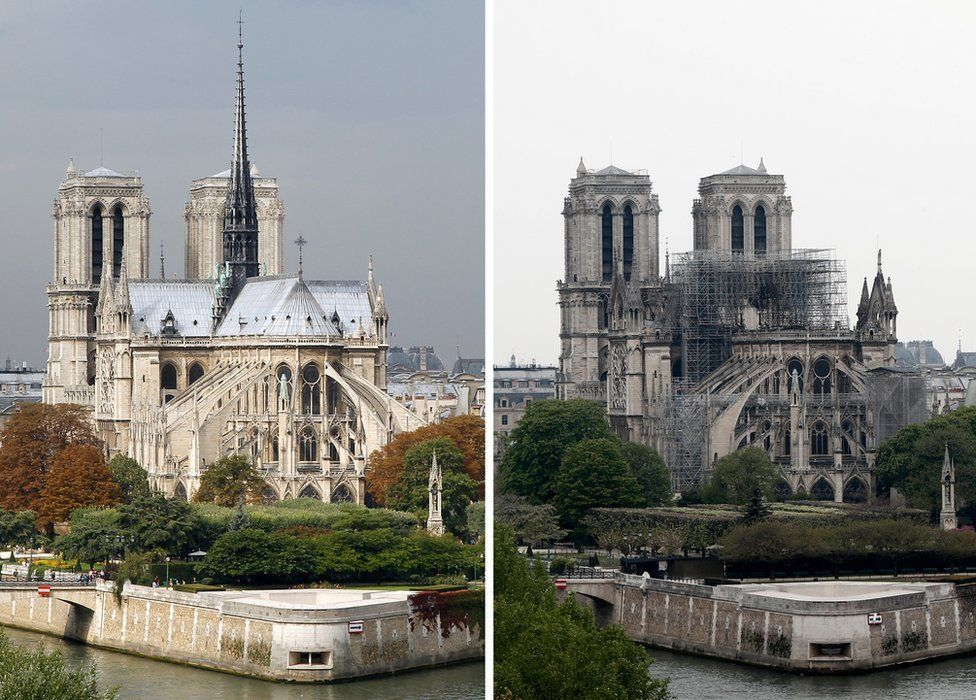 Composite image of Notre-Dame cathedral before and after the fire