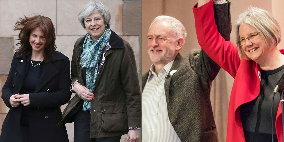 Theresa May and Jeremy Corbyn visiting Copeland