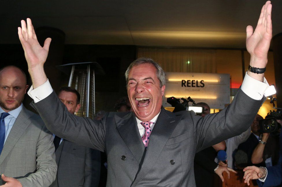 Leader of the United Kingdom Independence Party (UKIP), Nigel Farage reacts at the Leave.EU referendum party at Millbank Tower in central London on June 24, 2016,
