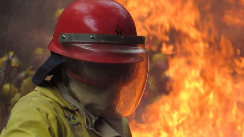 Firefighter during an operation