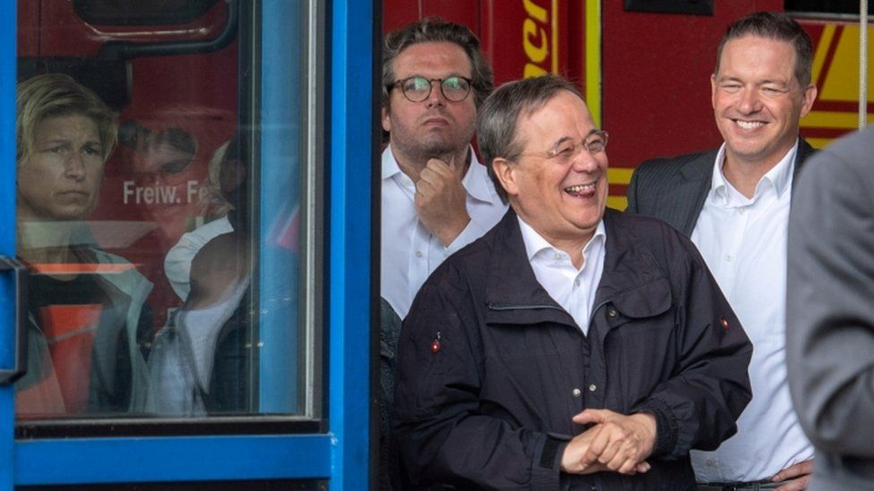 CDU leader and North Rhine-Westphalia State Premier Armin Laschet laughs on a visit to Erftstadt on 17 July