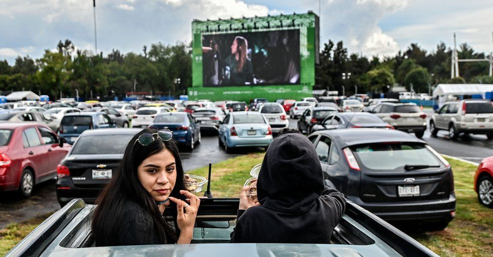 Drive-in cinema in Mexico