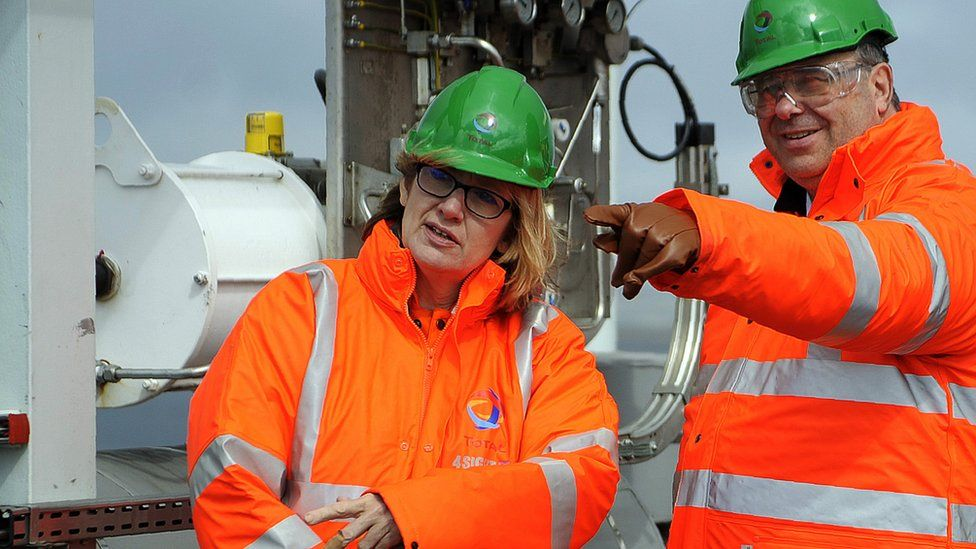 Amber Rudd as Secretary of State for Energy and Climate Change and Patrick Pouyanne, Chairman and CEO of French energy company Total visit the Shetland Gas Plant on May 16, 2016 in the Shetlands