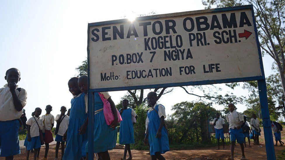 Pupils of Senator Obama Kogelo primary school head home after classes in Kogelo.