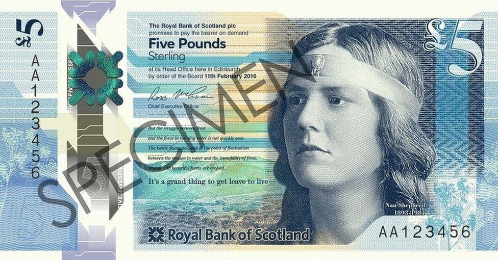 Specimen of new £5 note featuring Nan Shepherd