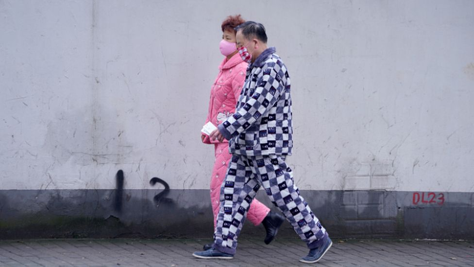 People in Beijing stepped out in their pyjamas during China's lockdown