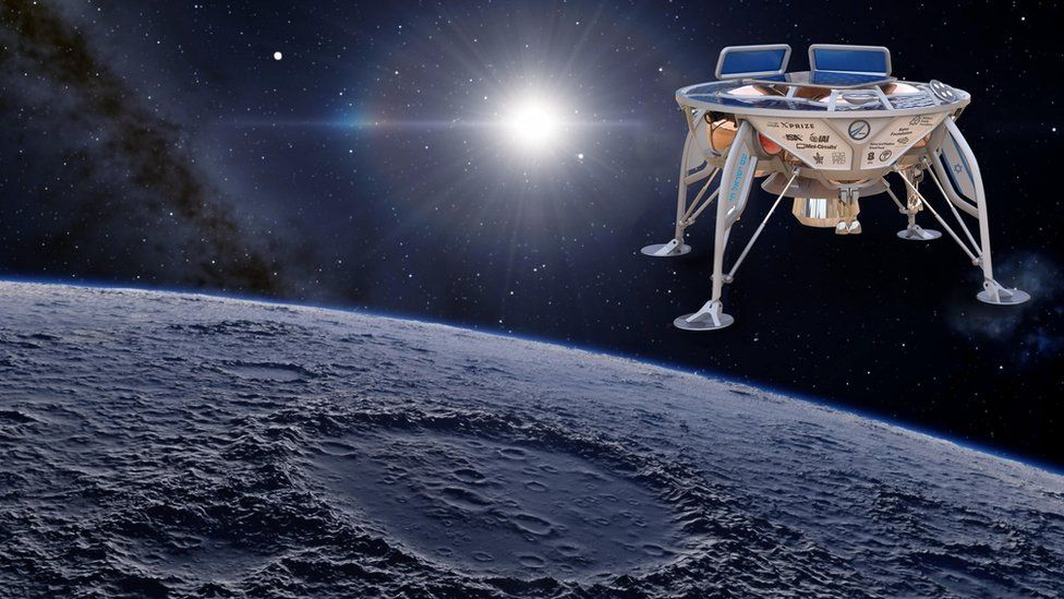 Artist's impression of SpaceIL probe in space
