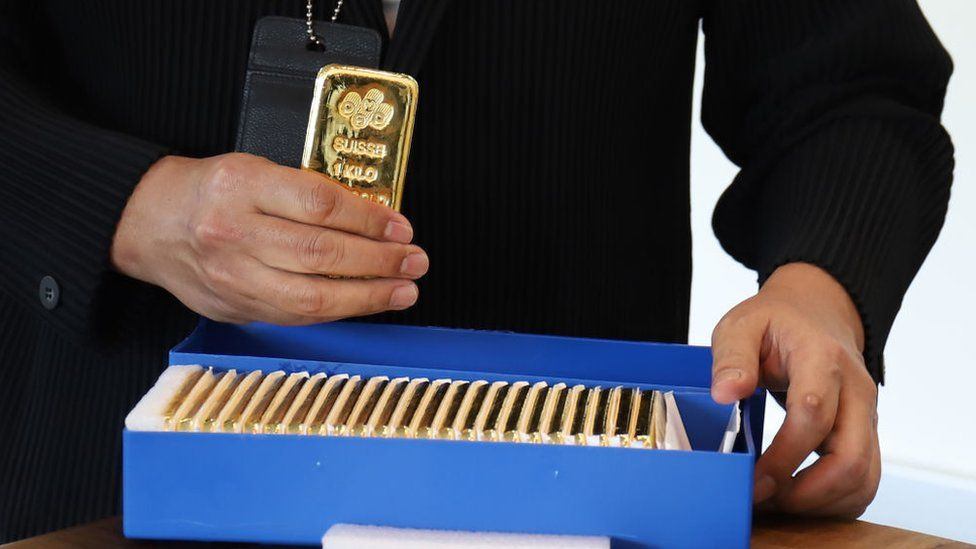 Gold bars on display at the Singapore Precious Metals Exchange