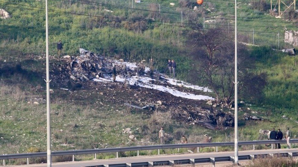 Crash site of an Israeli F-16 jet in northern Israel. Photo: 10 February 2018