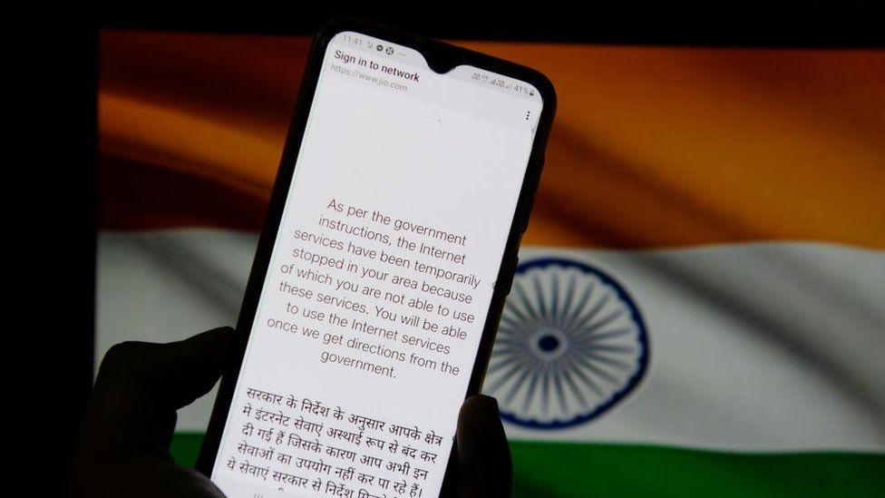 In this photo illustration, a notification message seen displayed on a smartphone regarding internet service being suspended as per the government instructions in Kolkata.