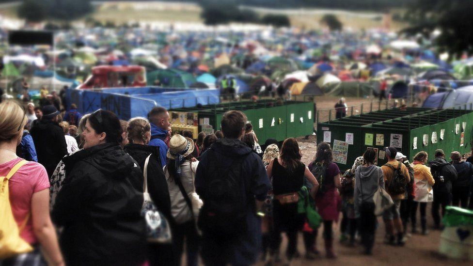 Toilet queues at the 2014 Glastonbury Festival in England