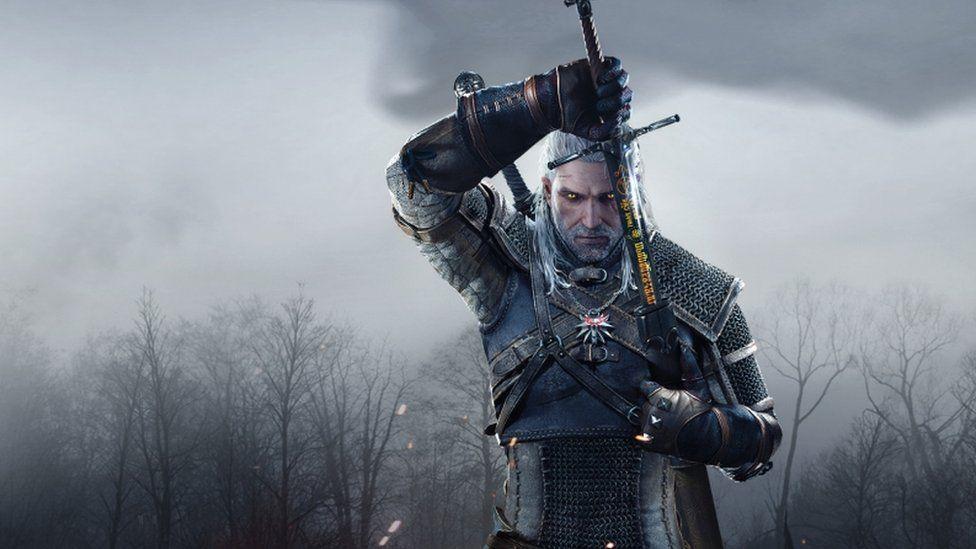 Geralt drawing his sword