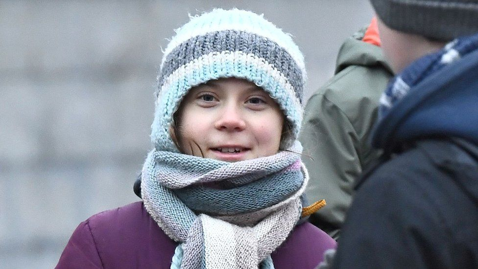 Greta Thunberg at a Fridays for Future march on her birthday, 3 January