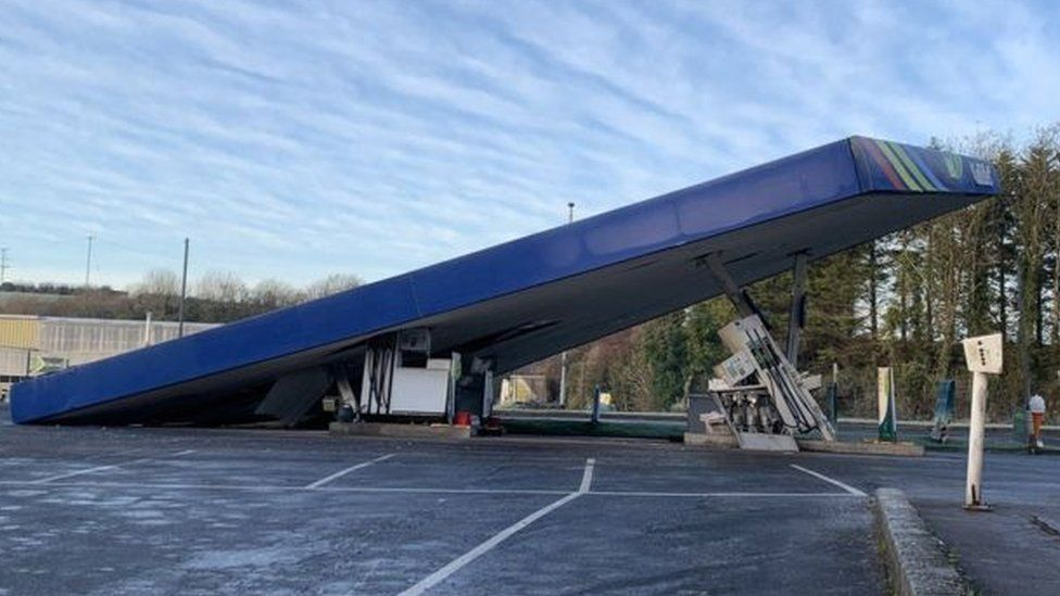 The forecourt roof was damaged during an attempted theft of a cash machine at Carlisles' on the Belfast Road in Ballynahinch