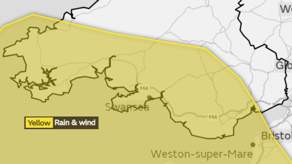 Map showing the warning for Friday covering much of southern Wales