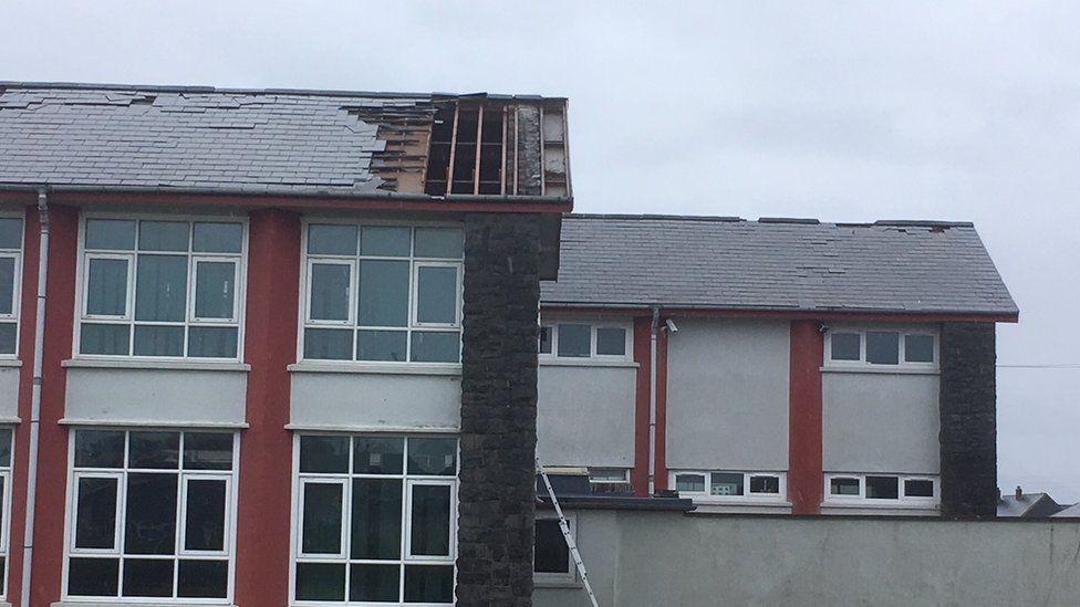 Broken roof in Ysgol Ardudwy Harlech in Gwynedd
