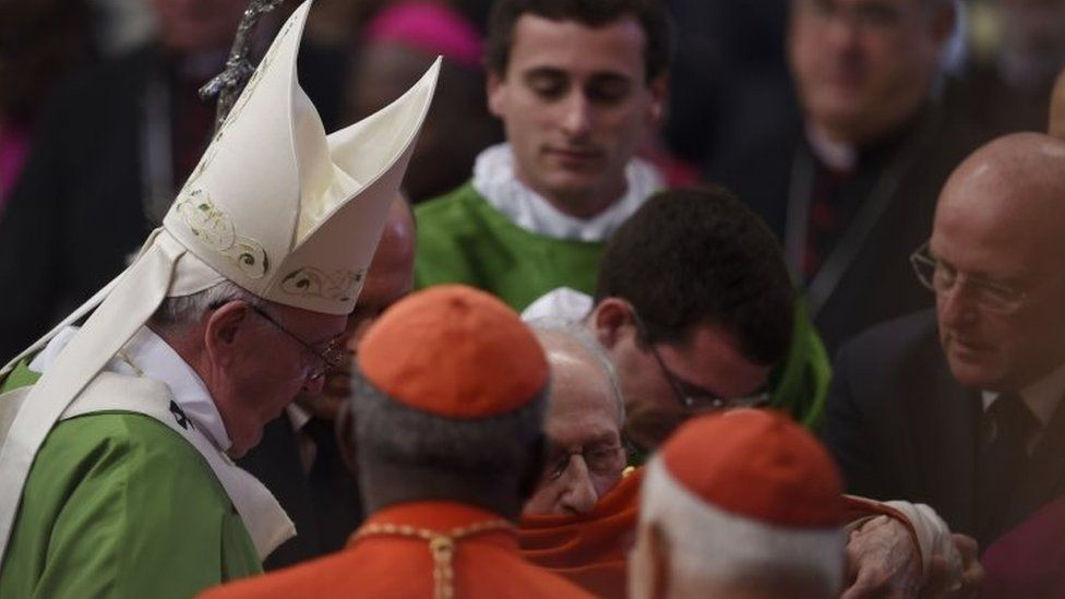 Pope Francis (left) greets cardinals and bishops at the end of a mass for the 14th Ordinary General Assembly of the Synod of Bishops at St Peter's basilica (25 October 2015)