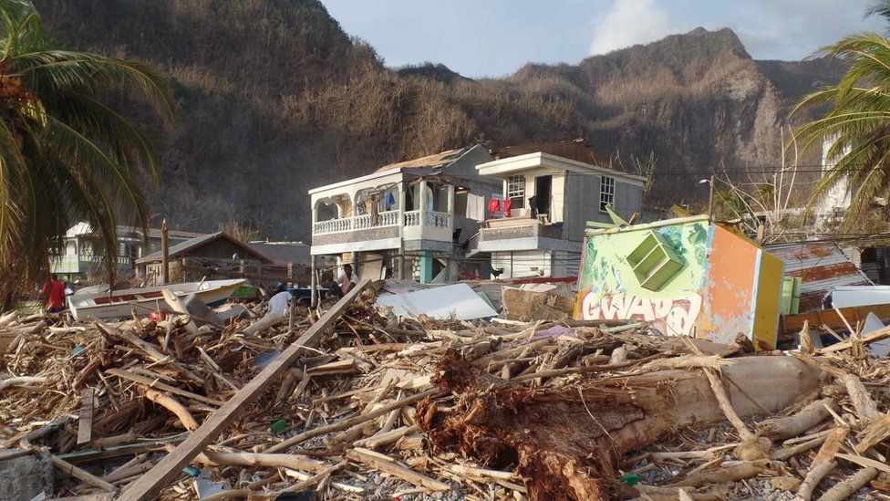 Destruction in the once picturesque tourist village of Soufriere, on Dominica's south-west coast
