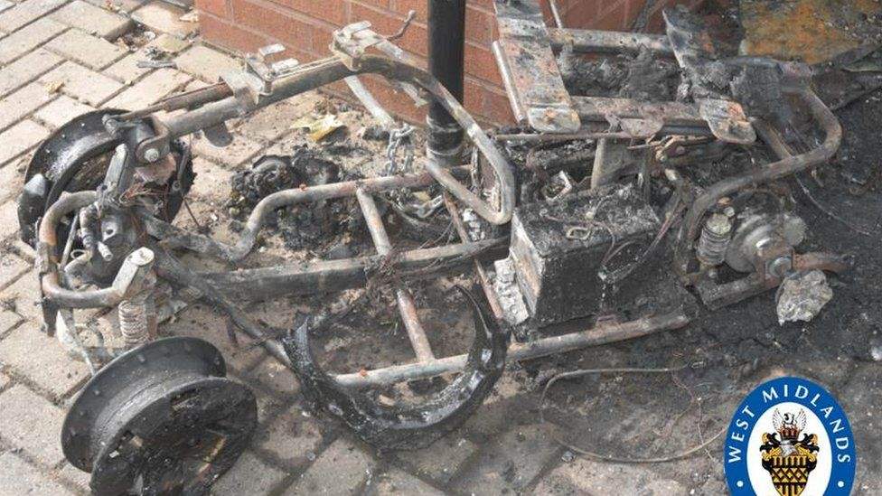 The mobility scooter after the fire