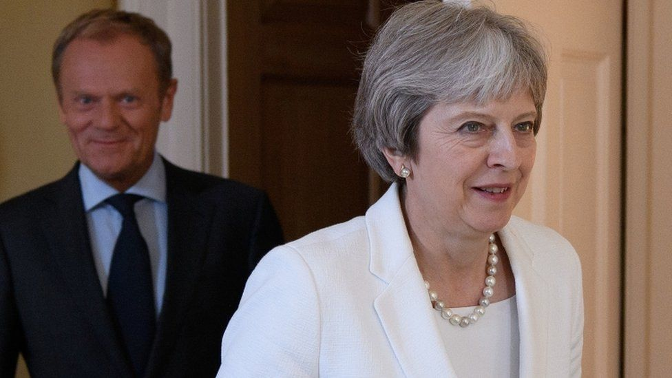 Prime Minister Theresa May with President of the European Council Donald Tusk inside No 10 Downing Street, London