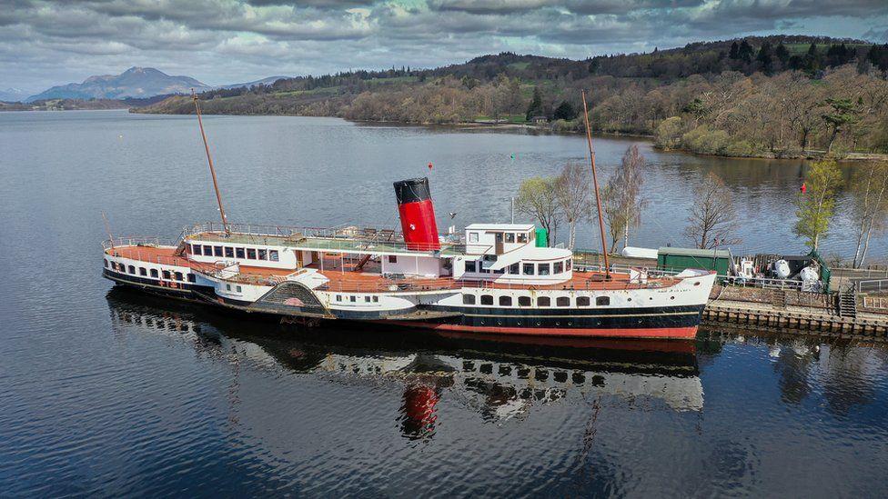 A paddle steamer is seen in an empty Loch Lomond in Balloch, Scotland.