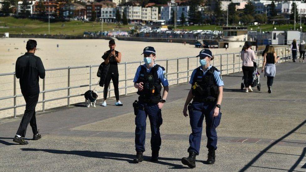 Police officers on patrol at Sydney's Bondi Beach