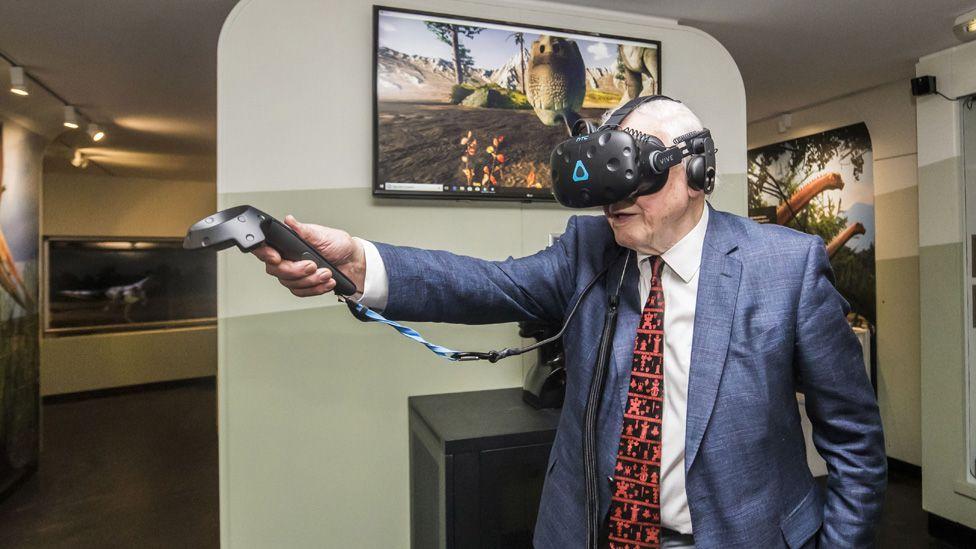 Sir David Attenborough with VR headset