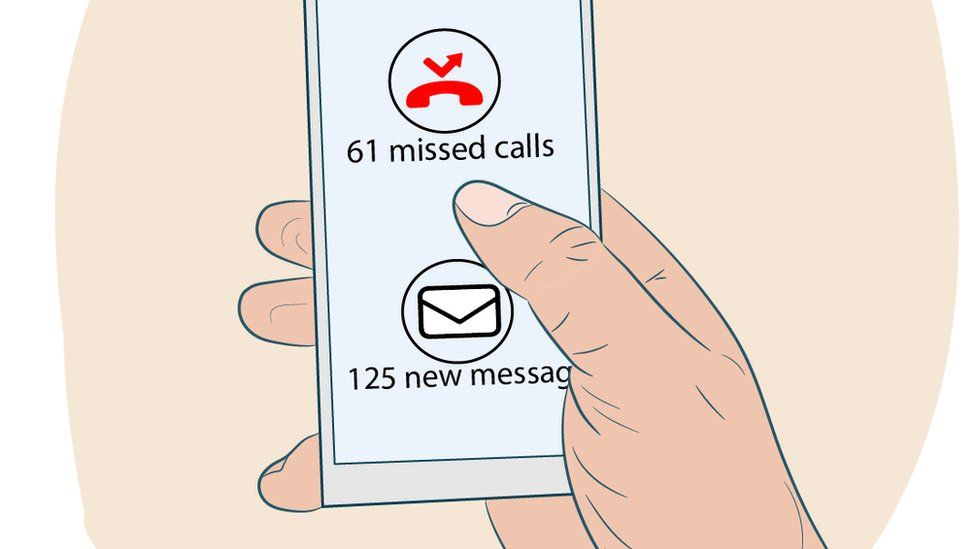Illustration of a hand holding a phone with missed calls and messages.