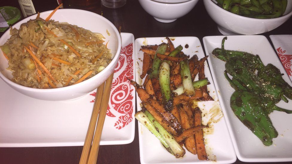 Fried rice, carrots and edamame beans