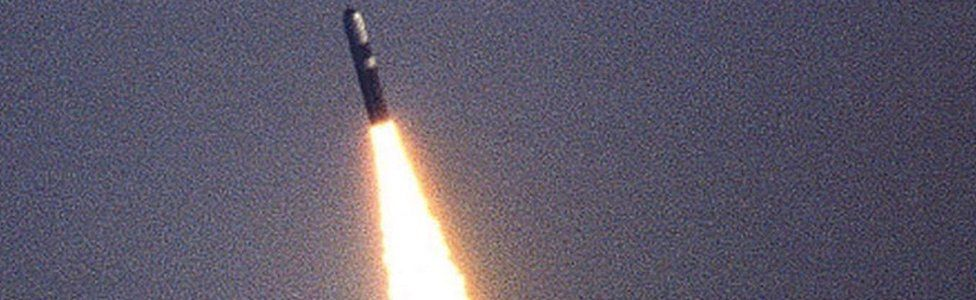 Undated handout file photo issued by the MoD of the test firing of a Trident missile