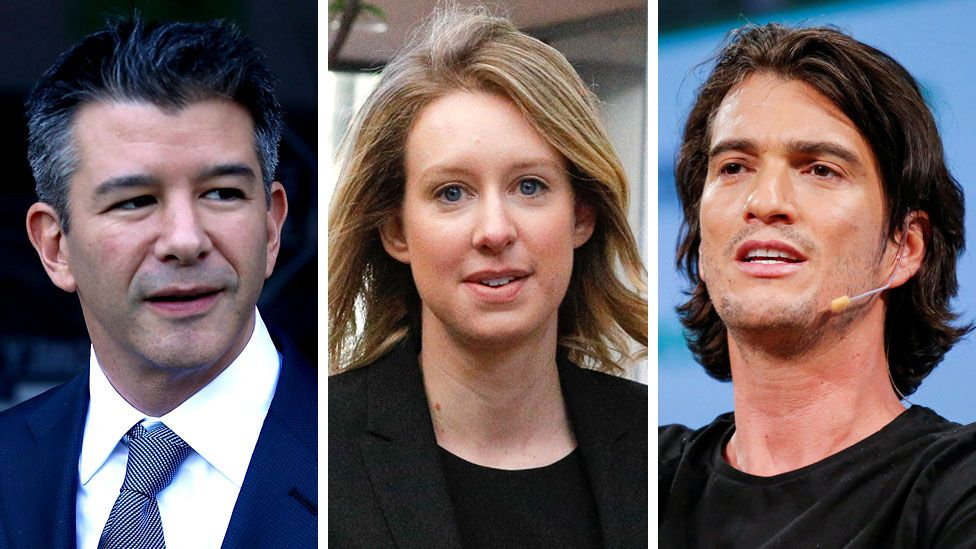 Travis Kalanick, Elizabeth Holmes and Adam Neumann