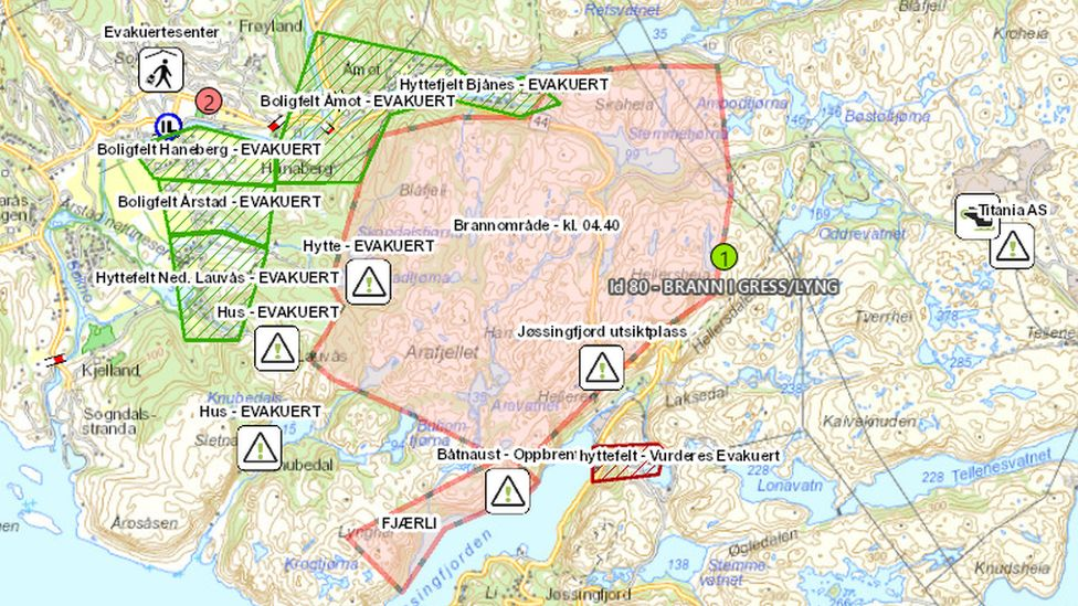 A map shows the area where the fire is burning and the area that has been evacuated