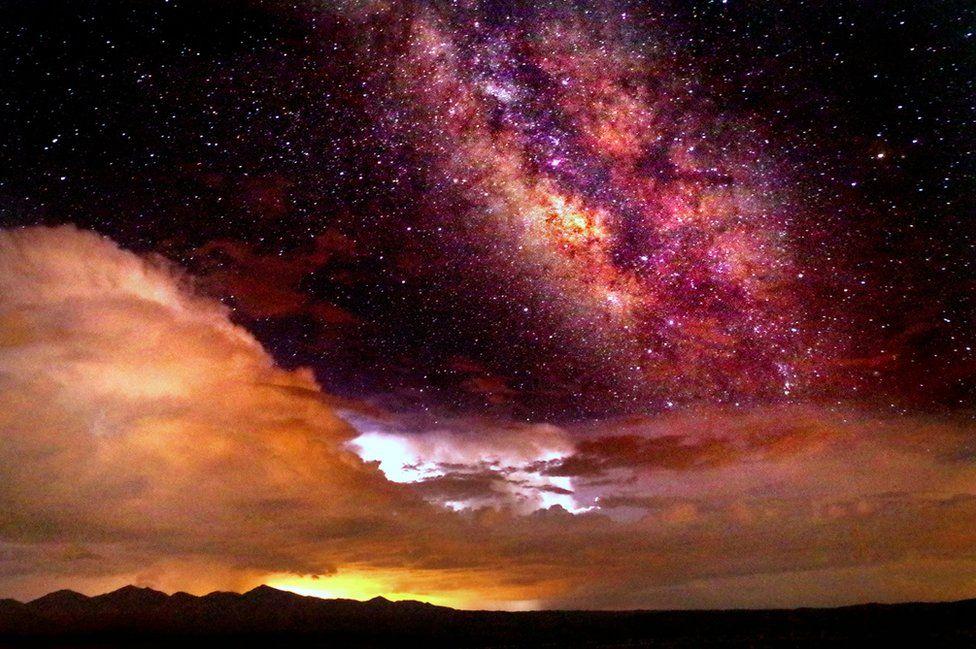 Stars and orange sky over Arizona.