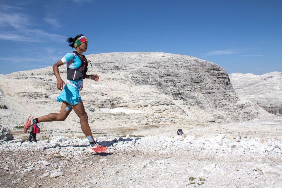 Mira Rai running in the Dolomites